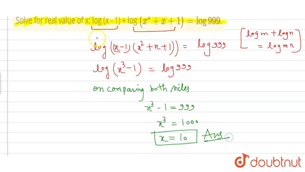Solution for Solve for real value of x: log (x - 1) + log (x^(