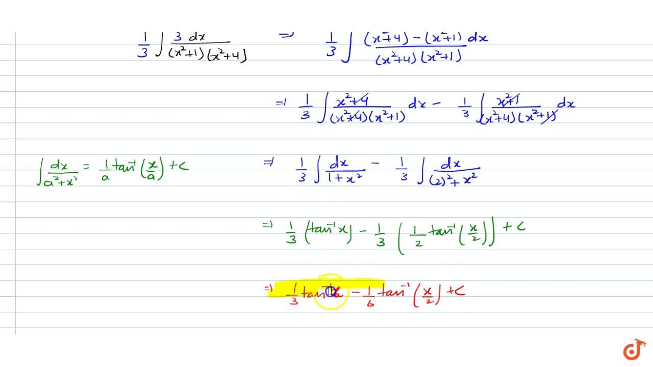 Solution for Integrate the functions1,((x^2+1)(x^2+4)