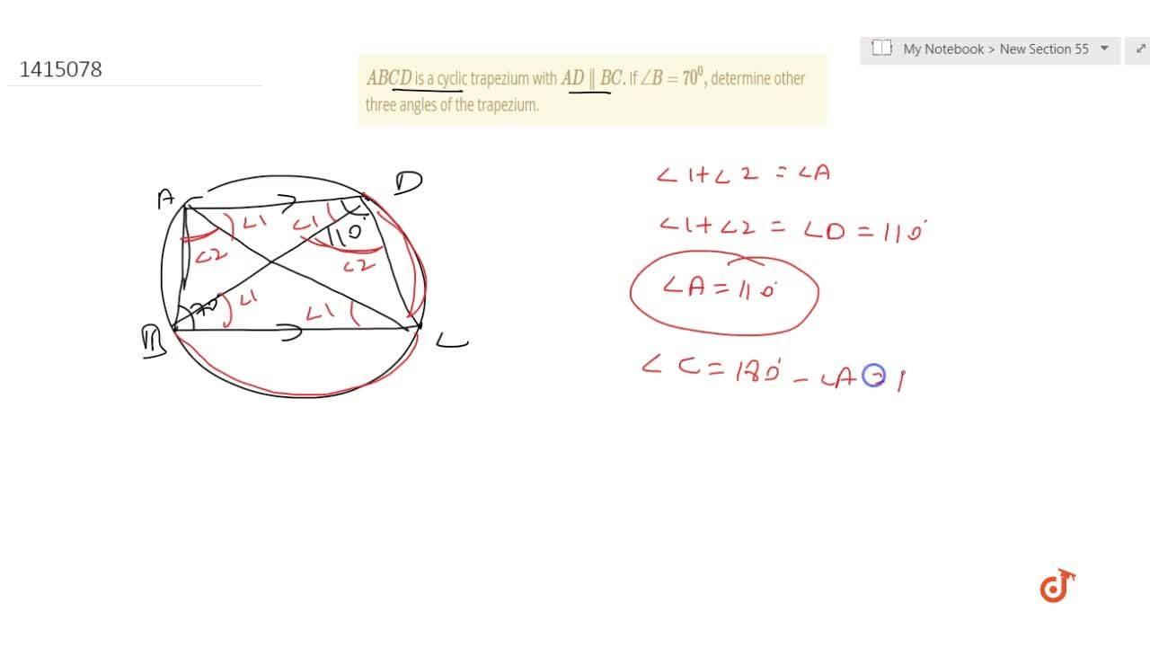 Solution for A B C D is a cyclic   trapezium with A D  B Cd
