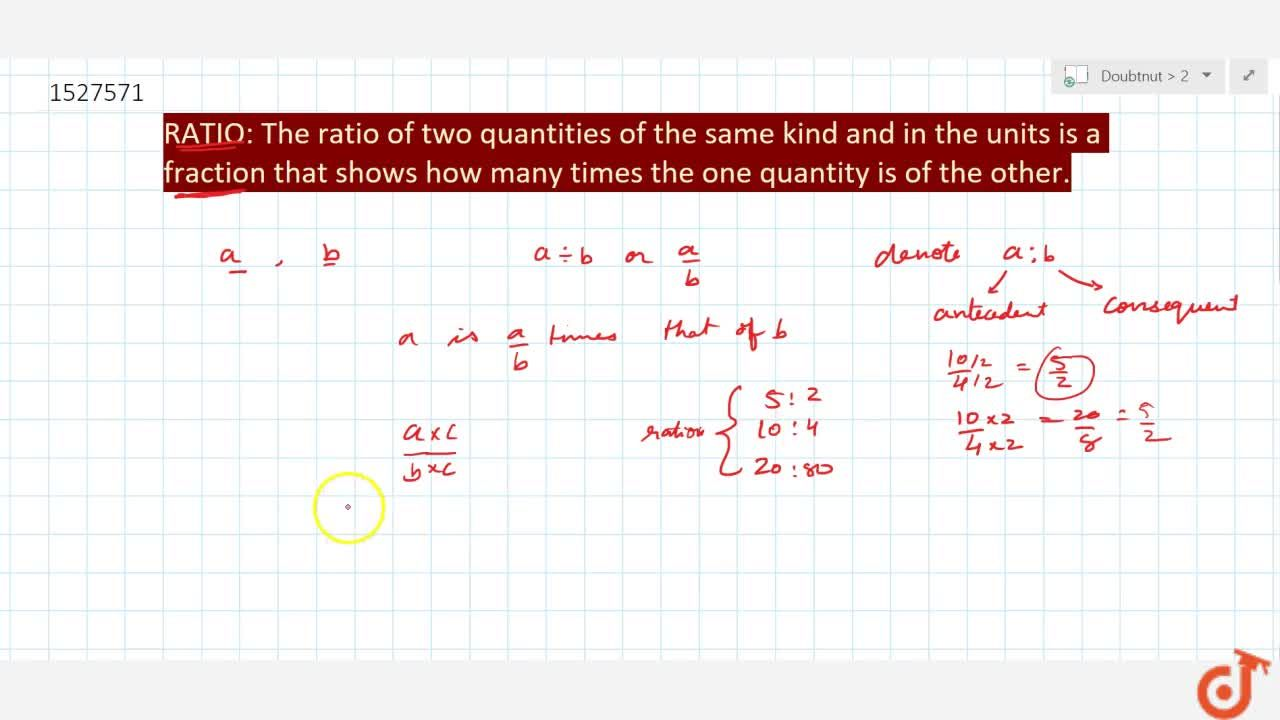 Solution for RATIO: The ratio of two quantities of the same kin