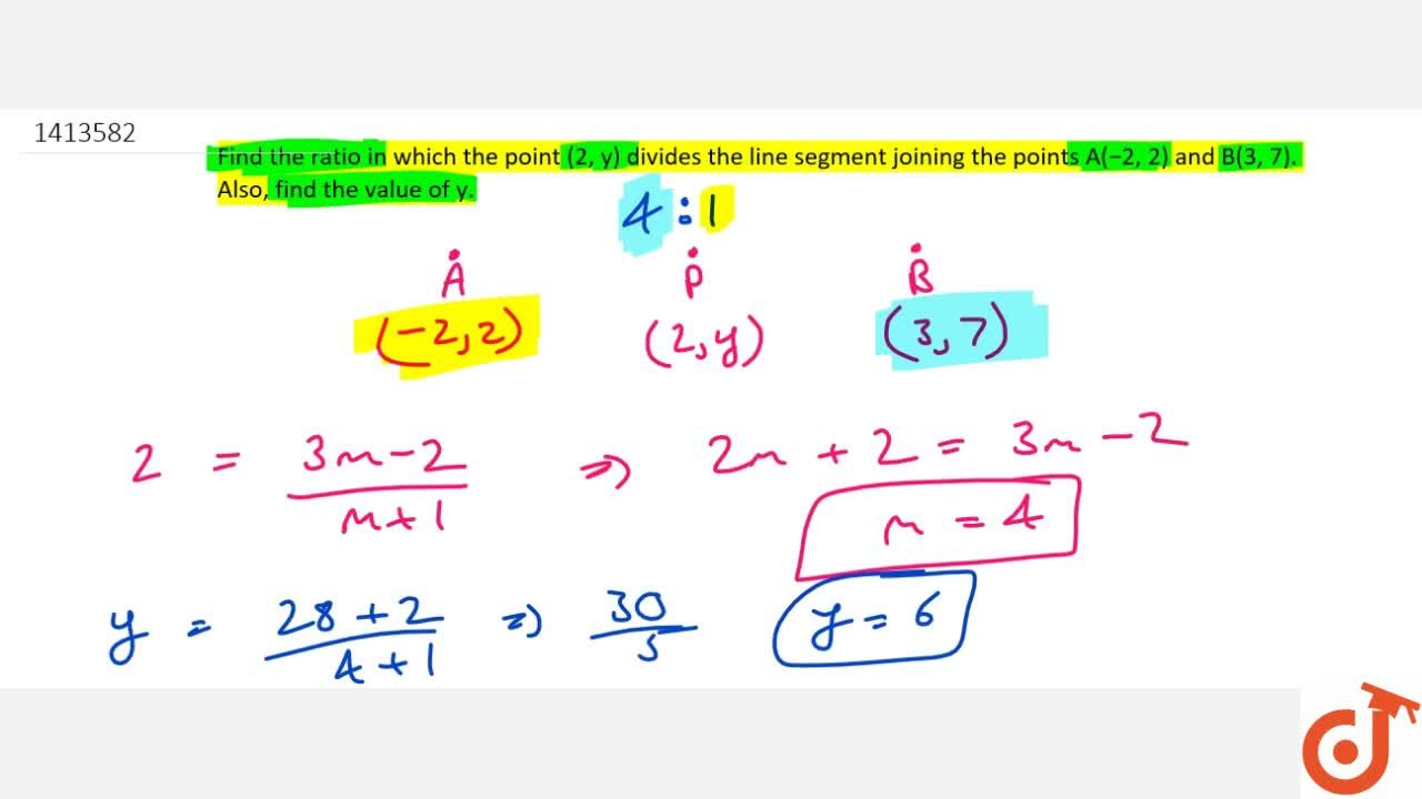 Solution for Find the   ratio in which the point (2,\ y) div
