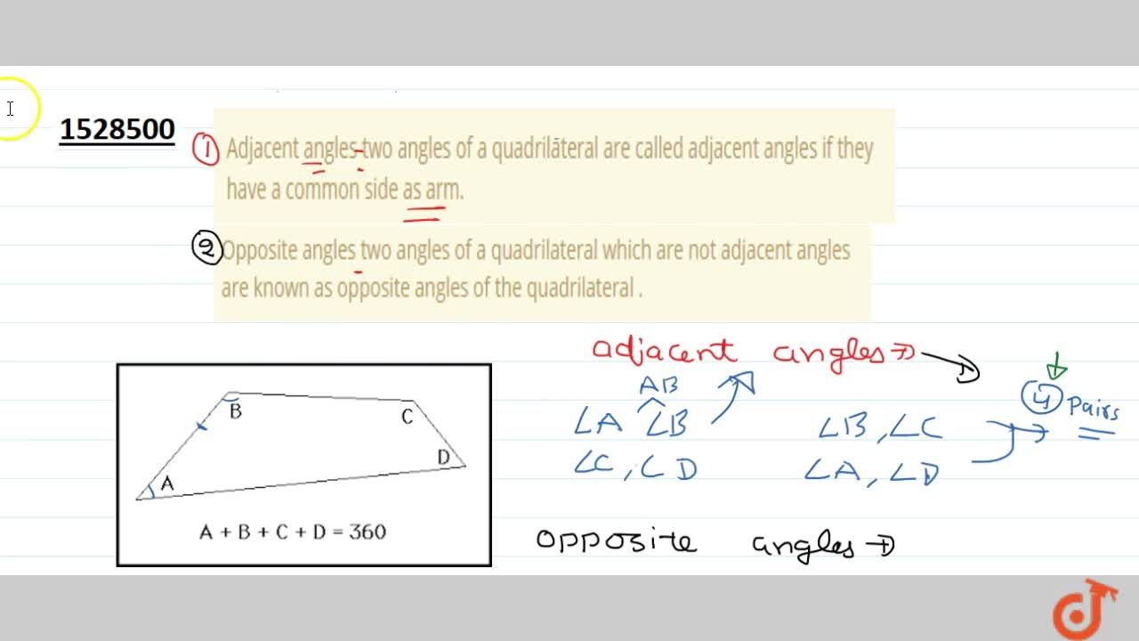 Solution for Adjacent angles two angles of a quadrilateral are