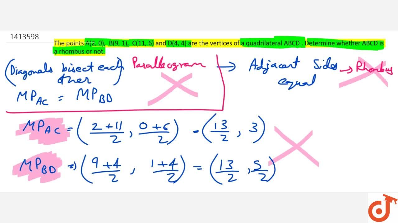 Solution for The points A(2,\ 0),\ \ B(9,\ 1),\ \ C(11 ,\ 6)
