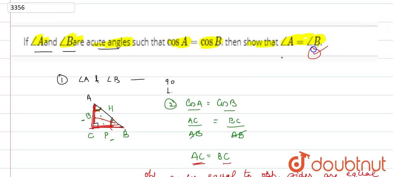 Solution for If  ,_A and ,_B are acute angles such that co
