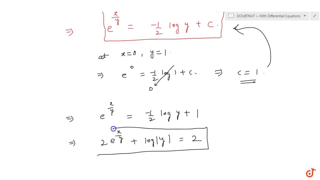 Solution for Show  that the differential equation 2y e^(x,y)dx