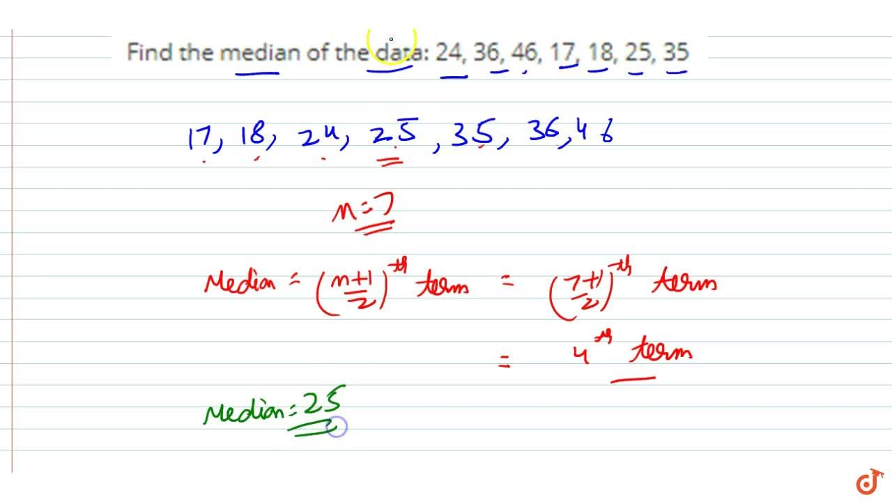 Find the median of the data: 24, 36,  46, 17, 18, 25, 35