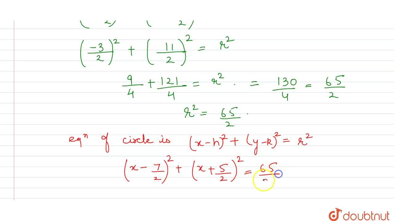 Find the equation of the circle passing through the points (2, 3)and (-1, 1)and whose centre is on the  line x - 3y - 11 = 0.
