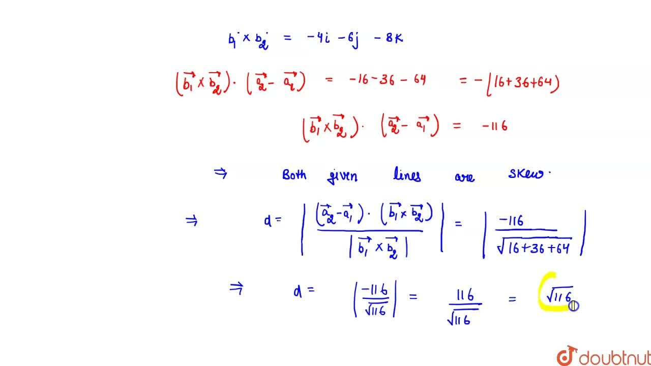 Solution for Find the shortest distance  between the lines(x+1