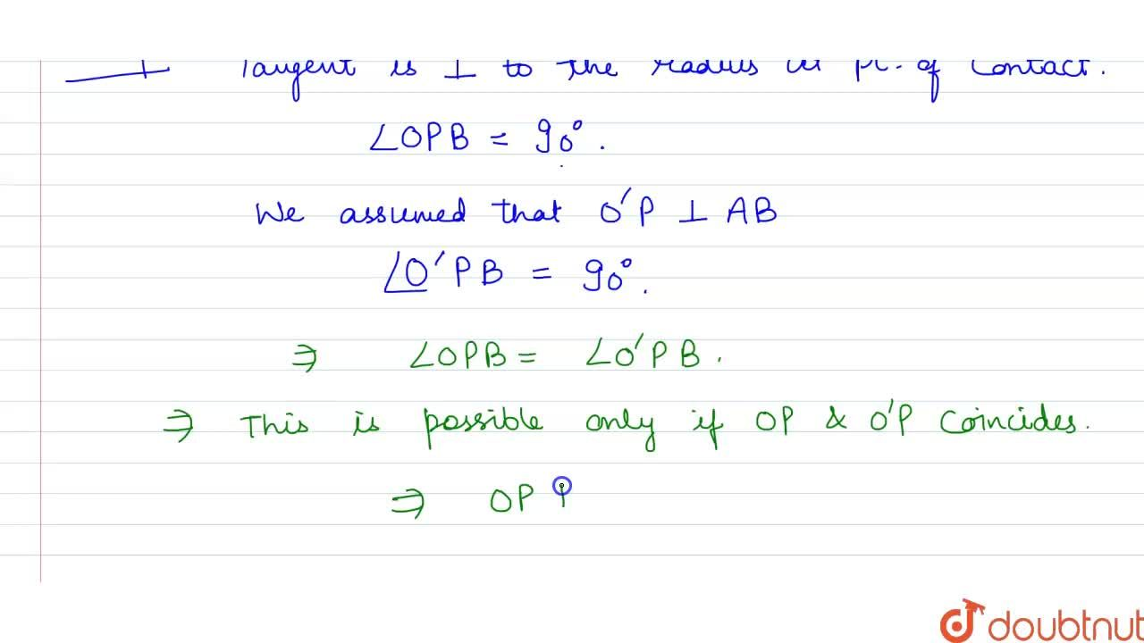 Solution for Prove that the perpendicular at the point of conta