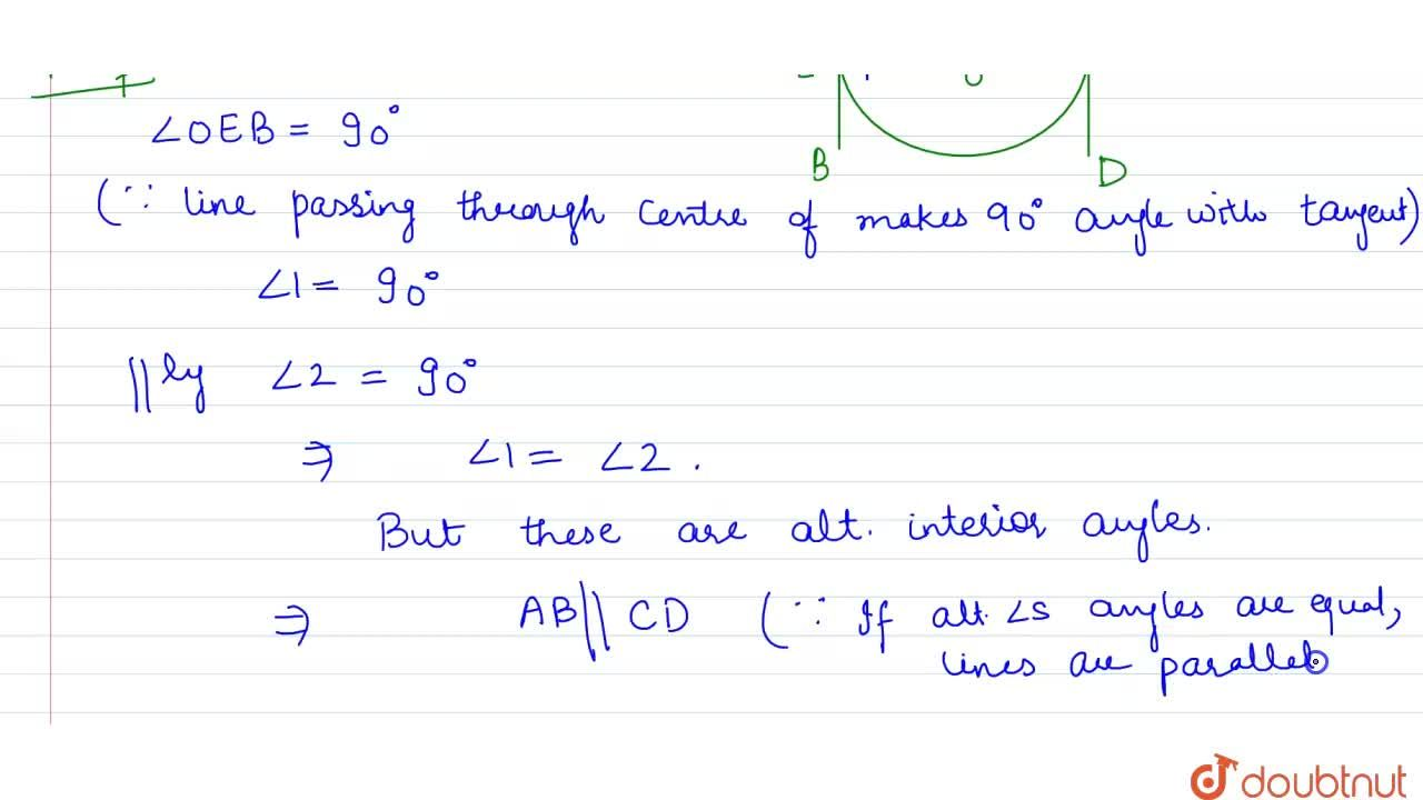 Solution for Prove that the tangents drawn at the ends of a  di