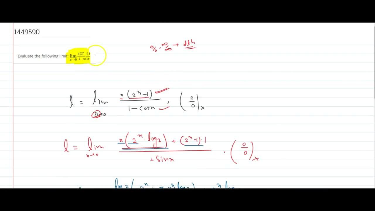 Solution for Evaluate the following limit: (lim)_(x->0)(x(2^x-