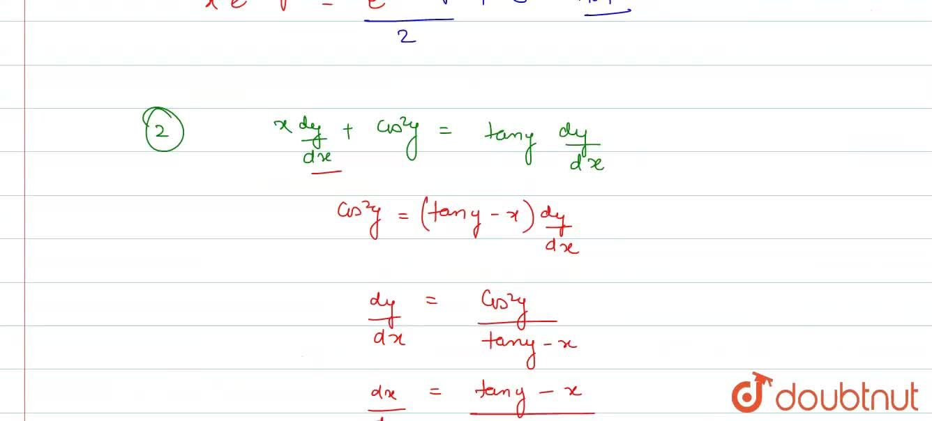 Solution for     Solve the differential equation: (i) (1+y^2)