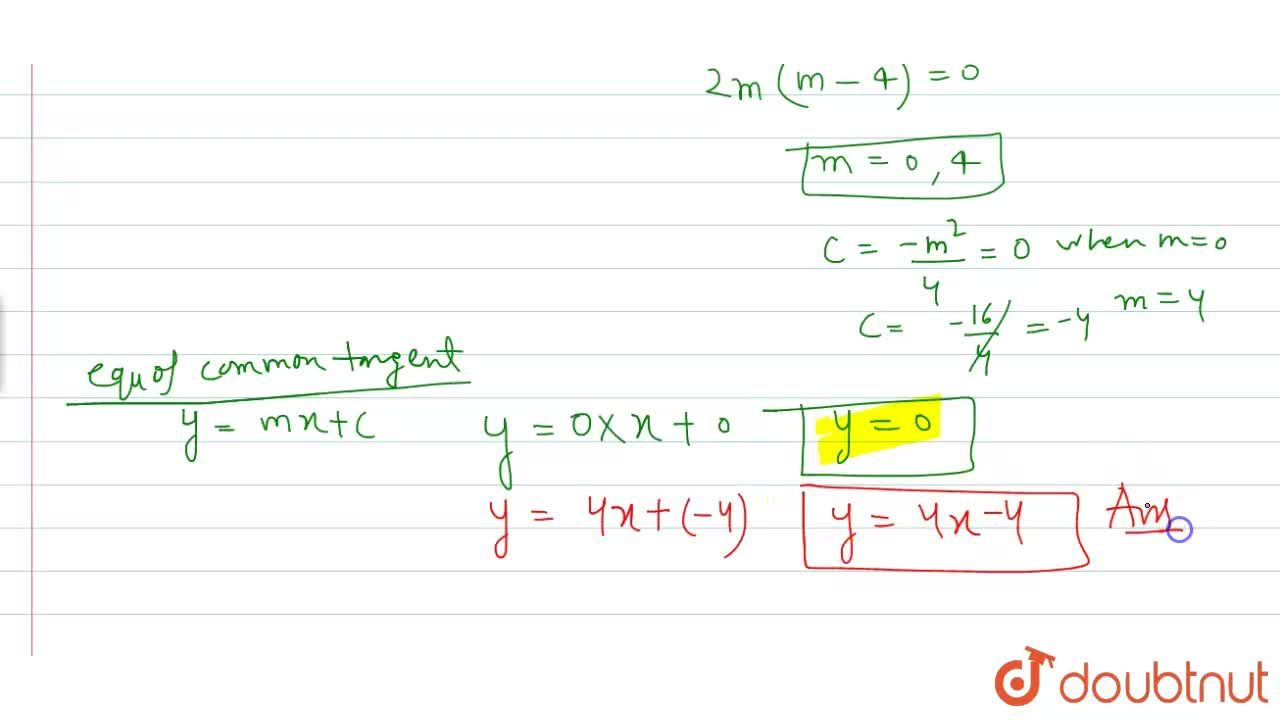 Solution for The equation of the common tangent to the parabola