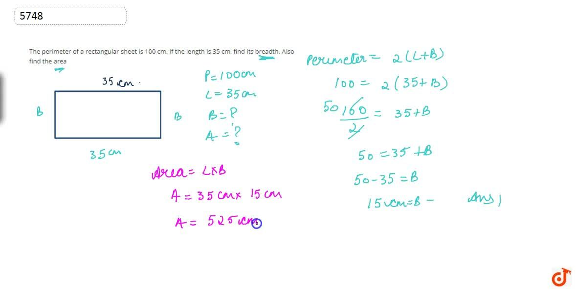 Solution for The perimeter of a rectangular sheet  is 100 cm. I