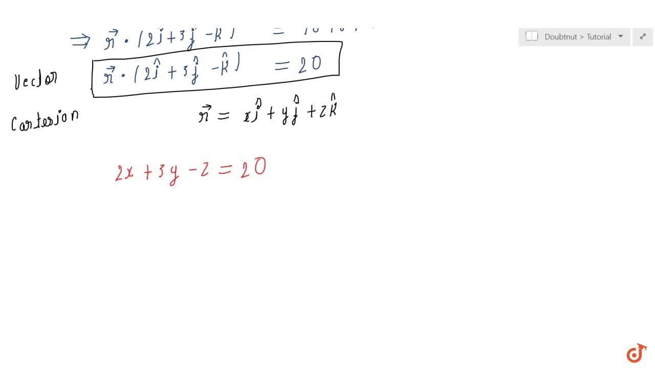 Solution for  Find the vector and cartesian equations of the  p