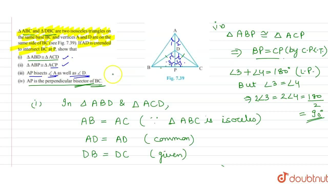 Solution for DeltaA B Cand DeltaD B Care two isosceles tria