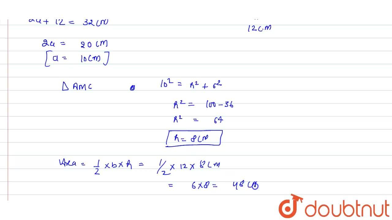Solution for The base of an isosceles triangle is 12 cm   and