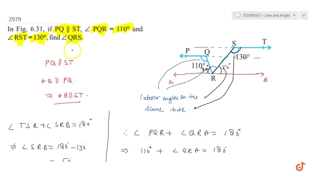 Solution for   In Fig. 6.31, if P Q    S T ,,_P Q R=110^@\