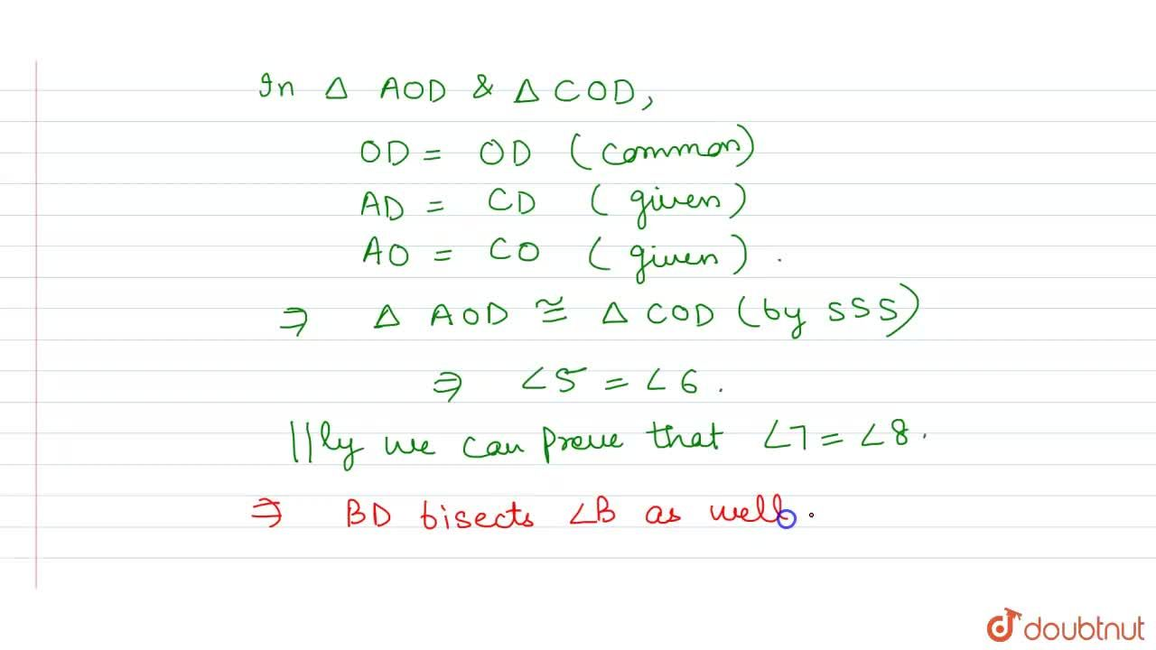 Solution for ABCD is a  rhombus. Show that diagonal AC bisects