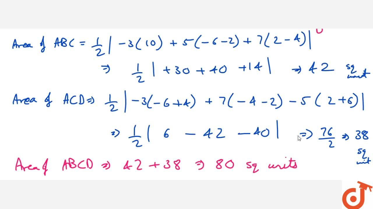 Solution for Find the   area of the quadrilateral whose vertic