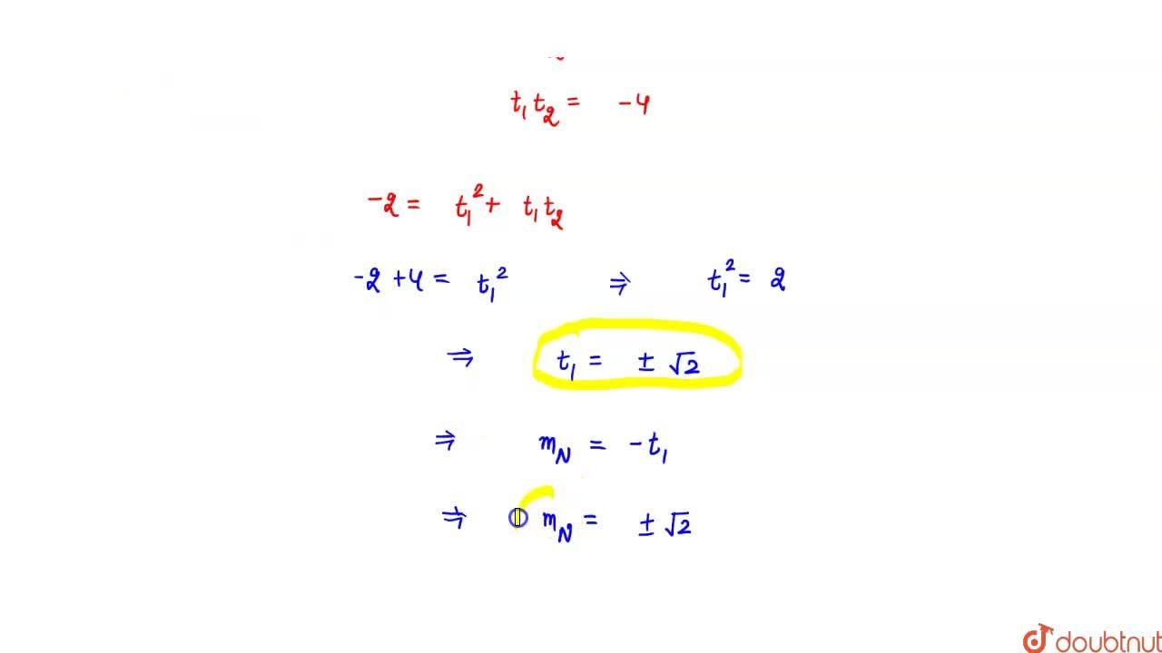 Solution for A normal chord of the parabola y^2=4ax subtends