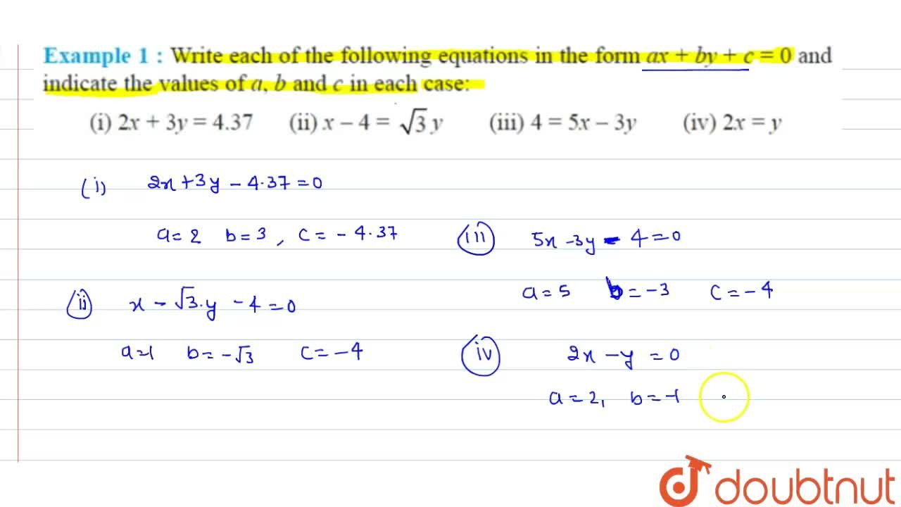 Solution for Write each of the following equation in the form