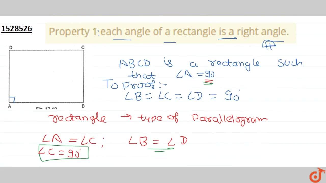 Solution for Property 1 each angle of a rectangle is a right an