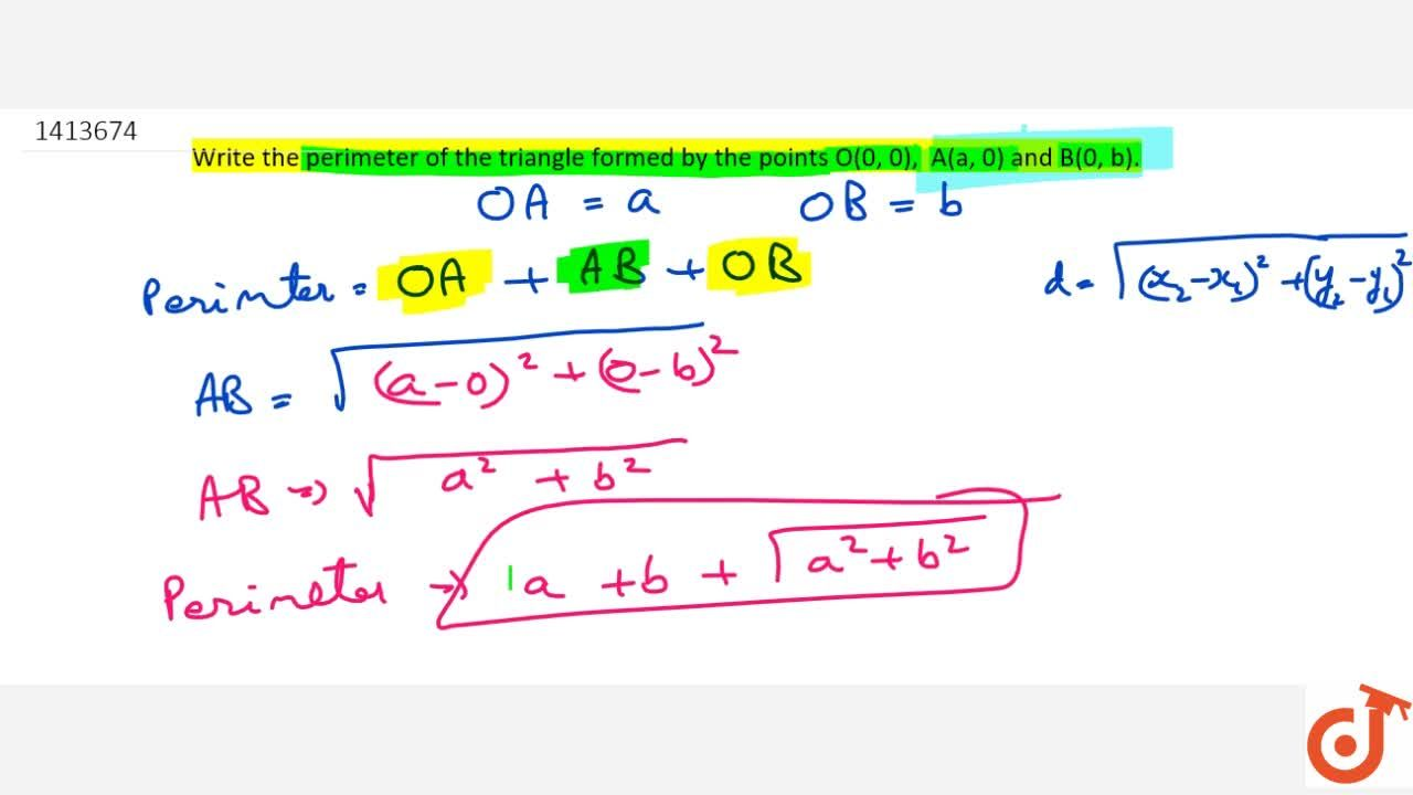 Solution for Write the   perimeter of the triangle formed by t
