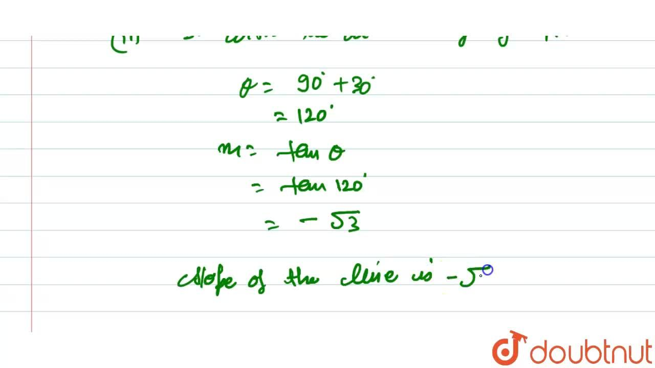 Find the slope of a line i. which bisects the first quadrant angle ii.   which makes an angle of 30^0 with the positive direction of y-axis measured anticlockwise.