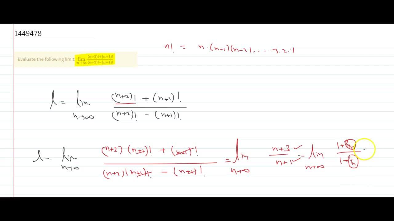 Solution for Evaluate the following limit: (lim)_(n->oo)((n+2)