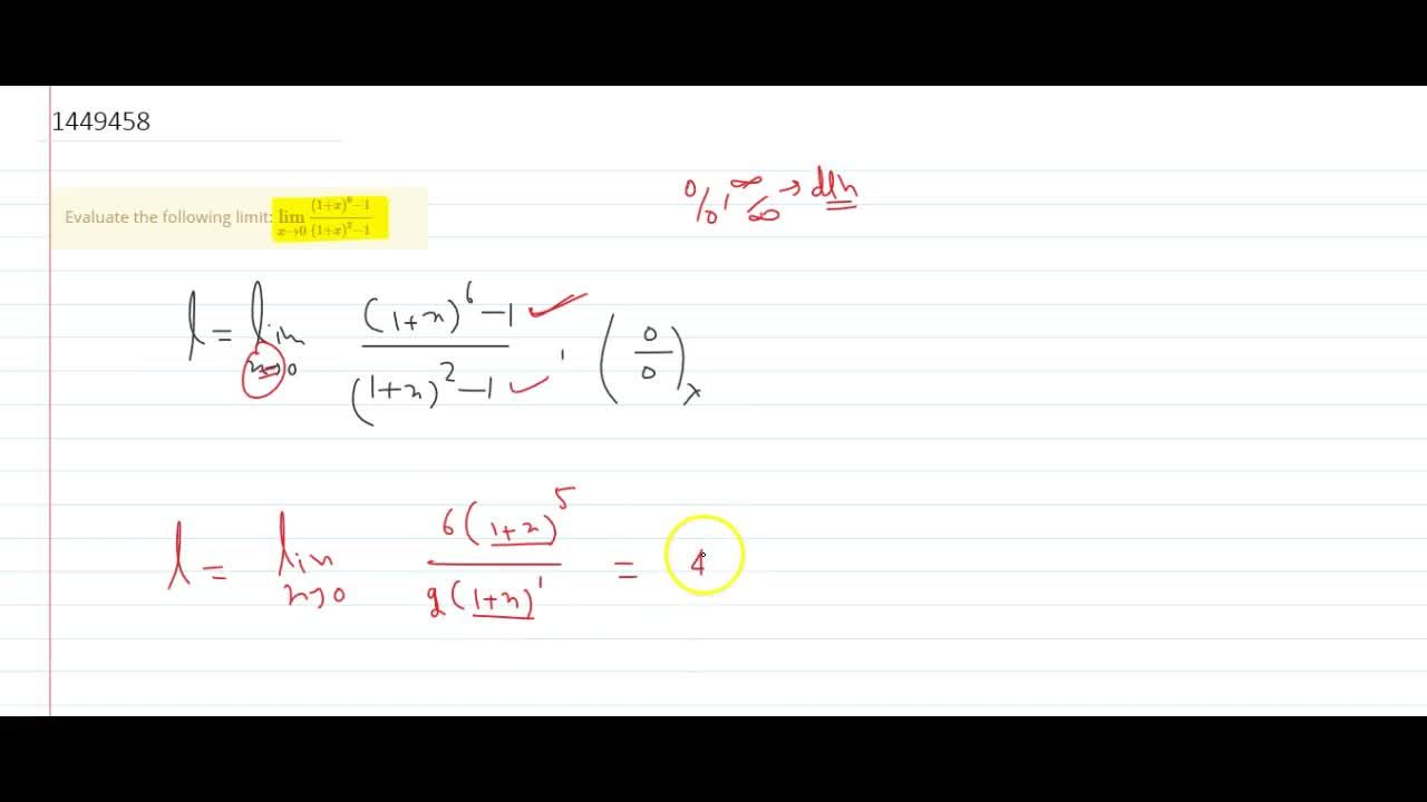 Solution for Evaluate the following limit: (lim)_(x->0)((1+x)^