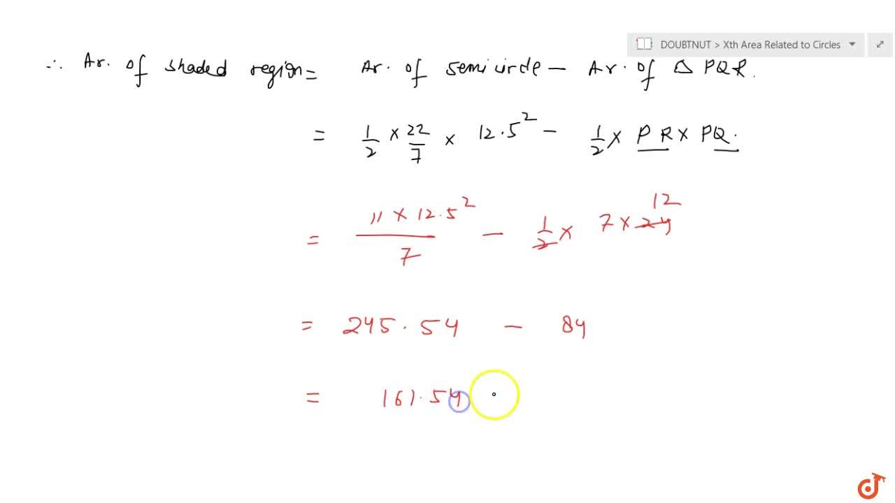 Solution for Find the area of the shaded region in Fig. 12.19,