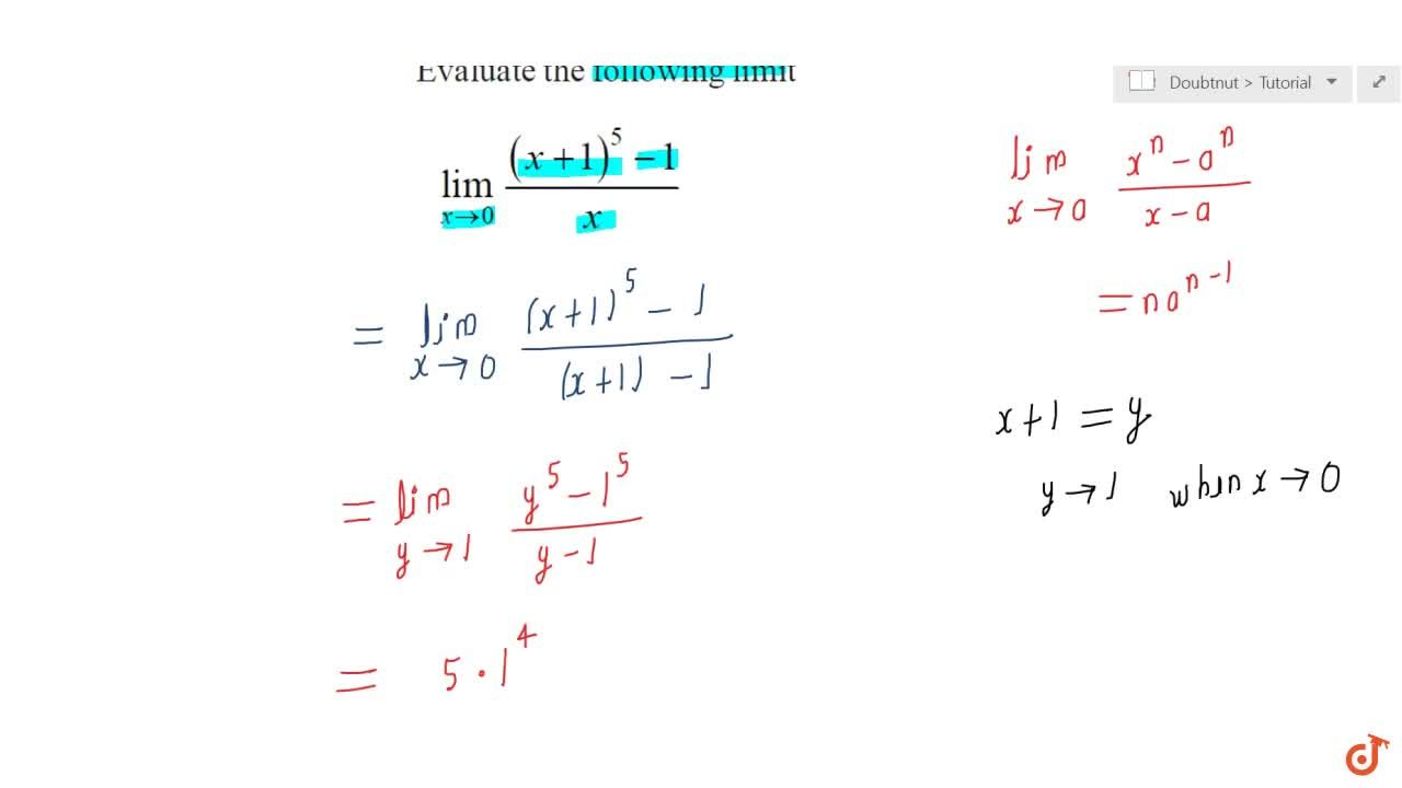 Solution for (lim)_(x->0)((x+1)^5-1),x