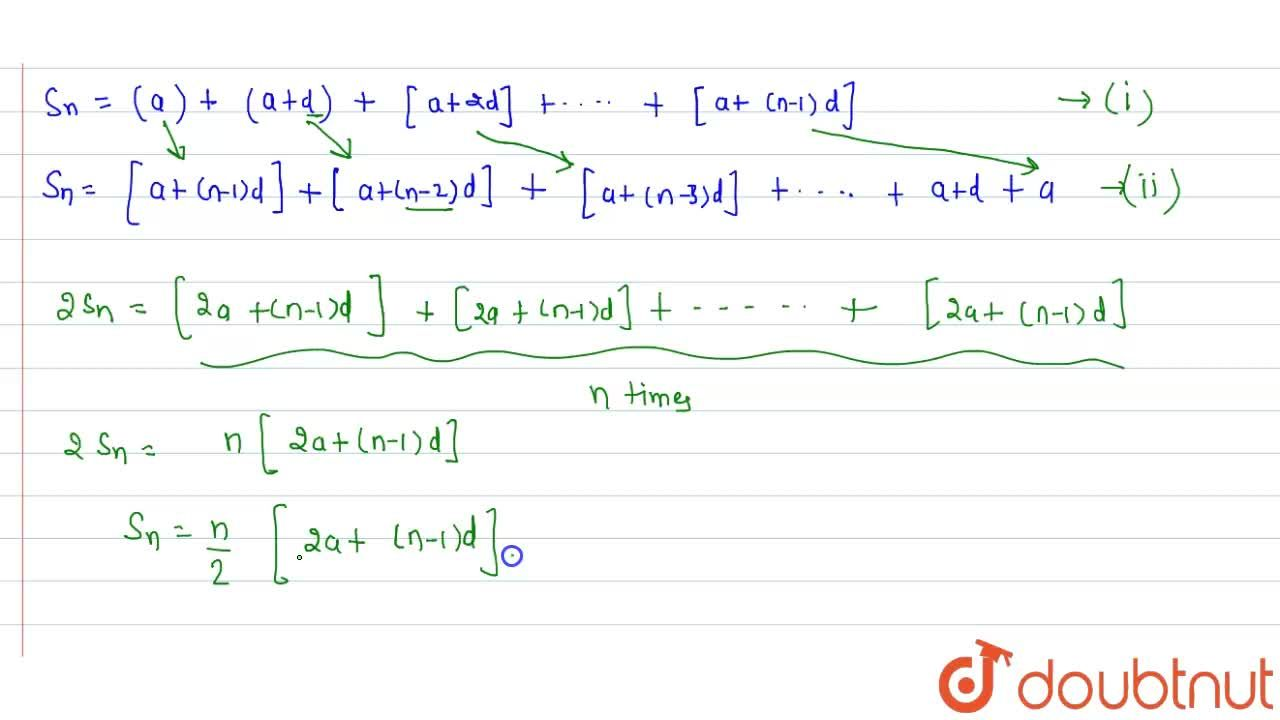 Solution for Theorem: The sum of nth terms of an AP with first
