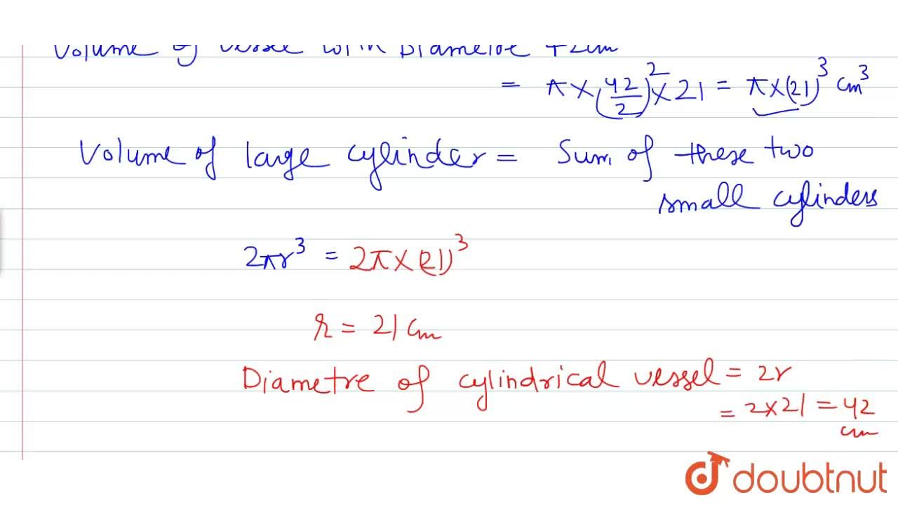 Solution for A   cylindrical vessel having diameter equal to i