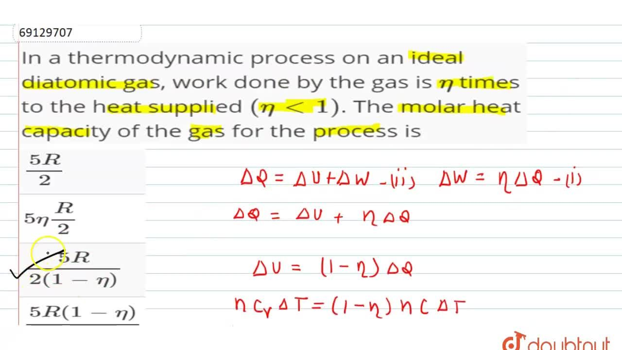 Solution for In a thermodynamic process on an ideal diatomic ga