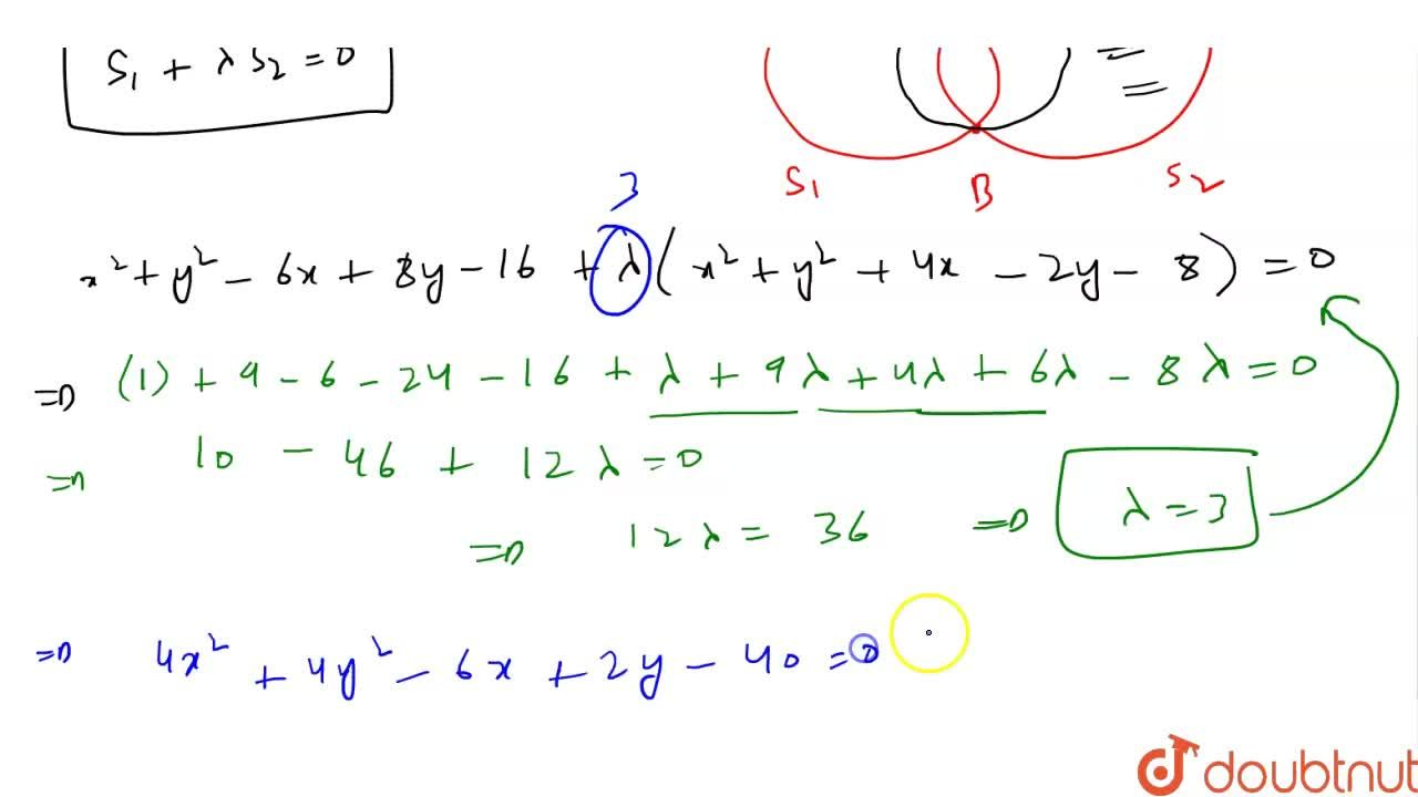 Solution for The equation of circle passing through (1,-3) an