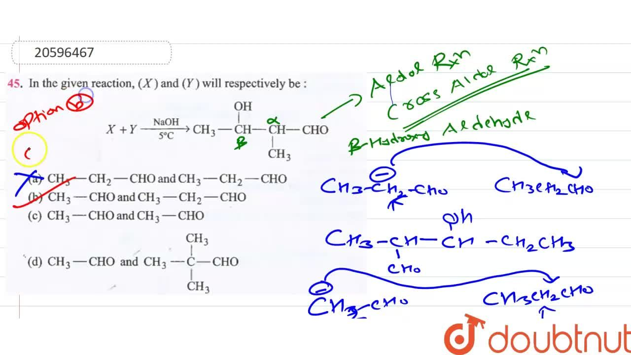 Solution for In the given reaction (X) and (Y) will respectivel