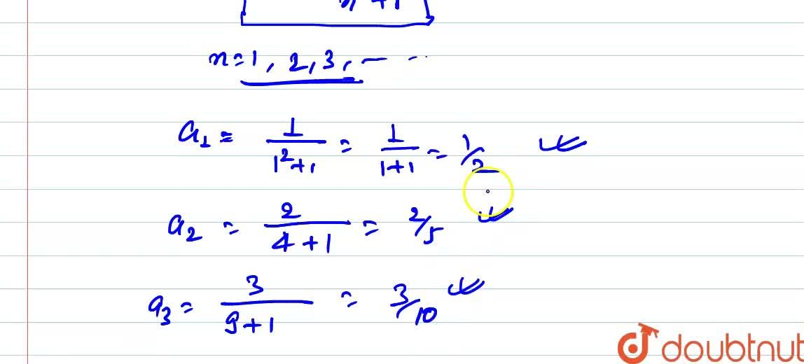 Solution for Give first 3 terms of the sequence defined by a_n