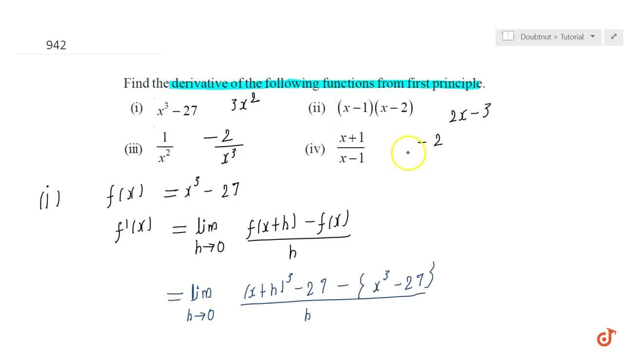 Solution for Find the derivative of the following functions fro