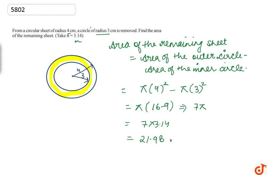 Solution for 6).From a circular sheet of radius 4 cm, a circle
