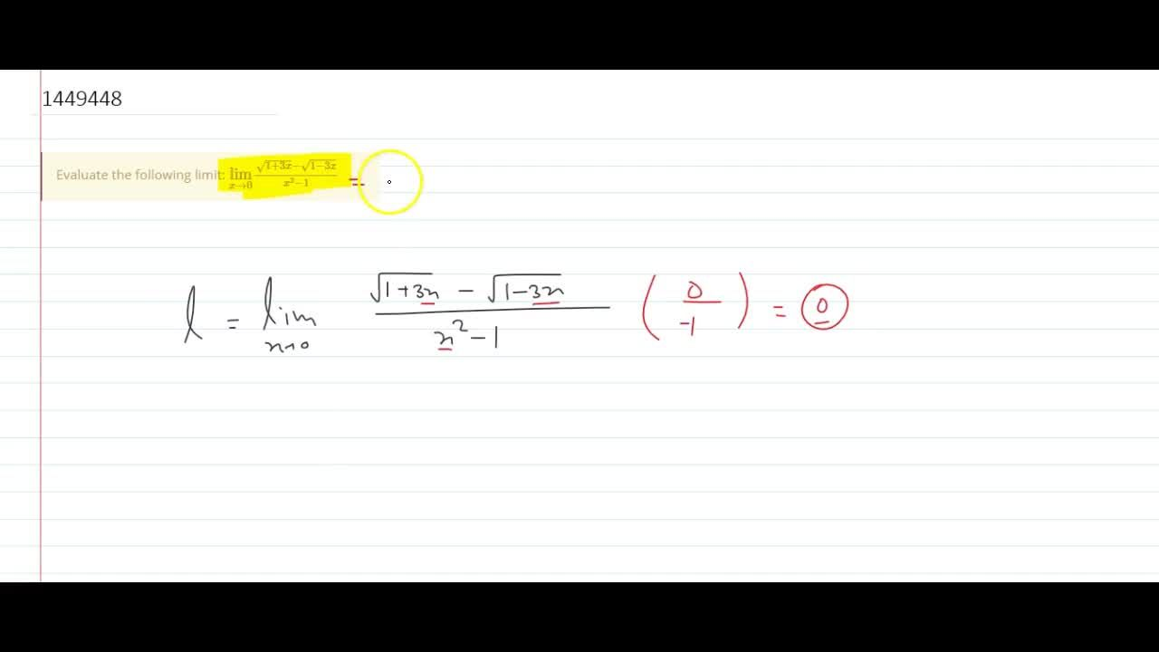 Solution for Evaluate the following limit: (lim)_(x->0)(sqrt(1