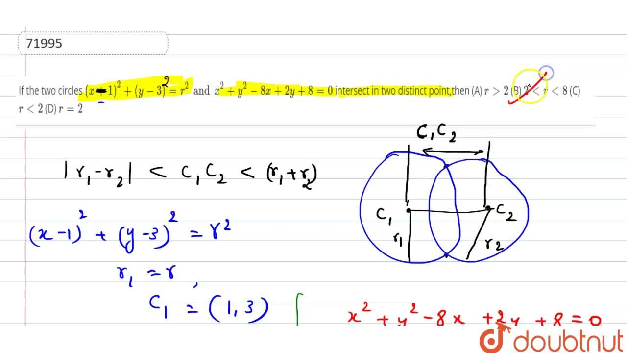 Solution for If the two circles (x+1)^2+(y-3)=r^2 and x^2+y^2-