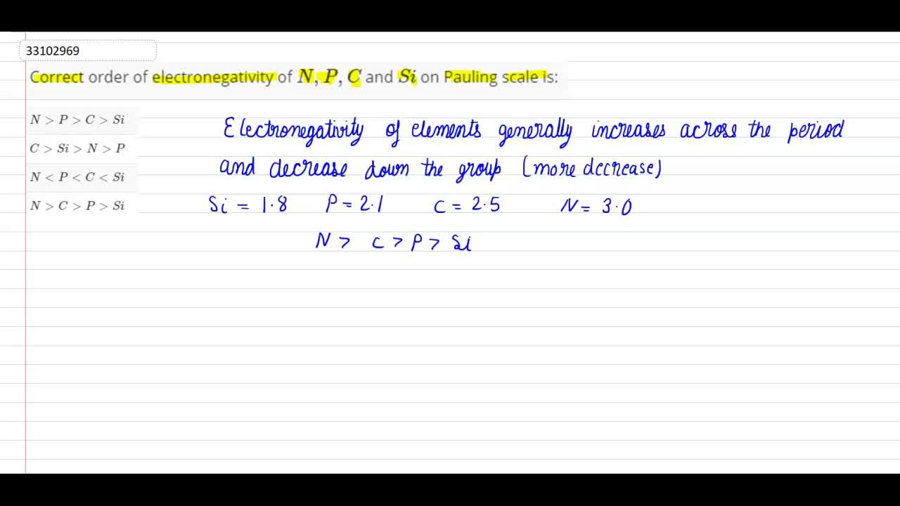 Solution for Correct order of electronegativity of N,P,C and