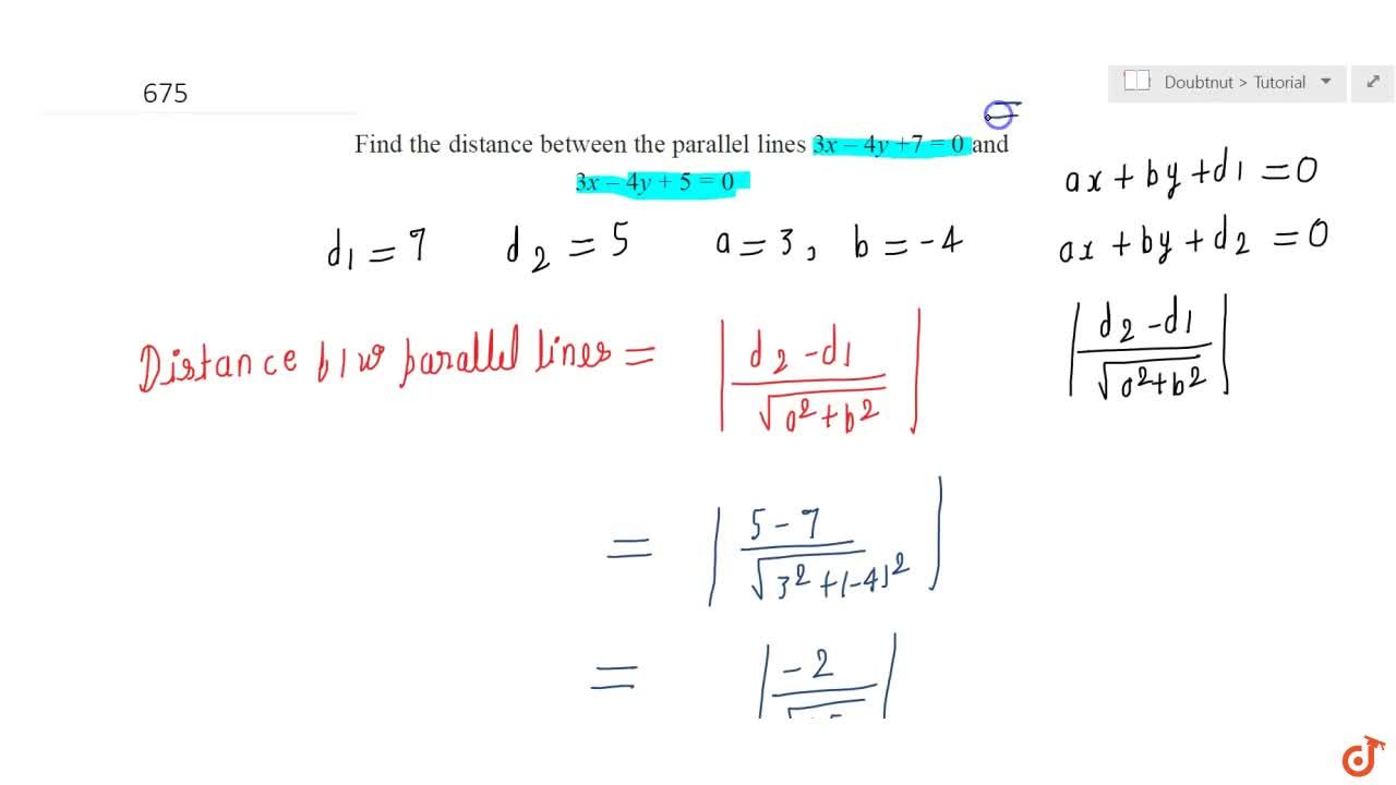 Solution for Find the distance  between the parallel lines 3x