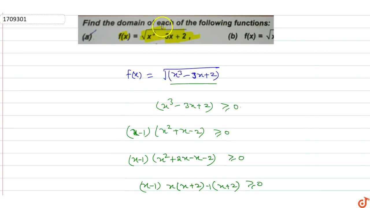 Solution for Find the domain of each of the following functions