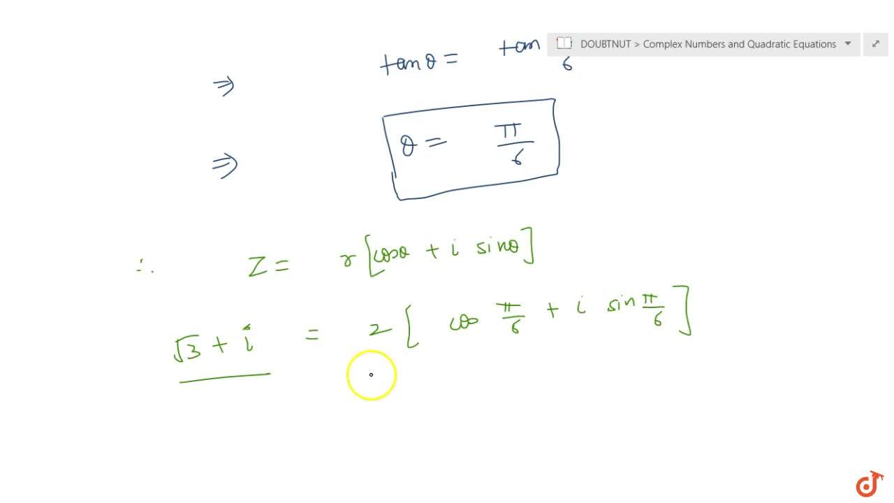 Solution for  Convert of the complex number in the polar form: