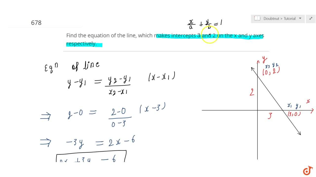 Solution for Find the equation of the line, which makes interce