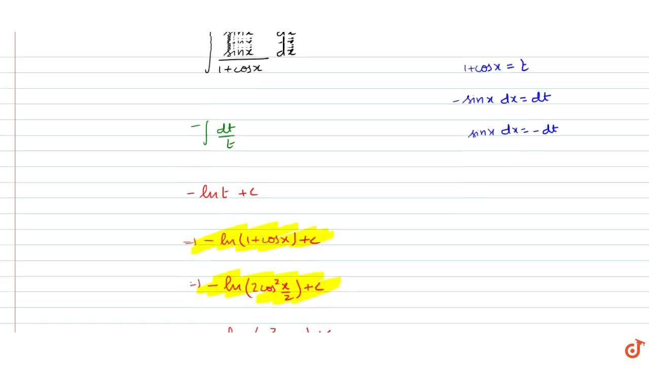 Solution for Integrate the functions(sinx),(1+cosx)