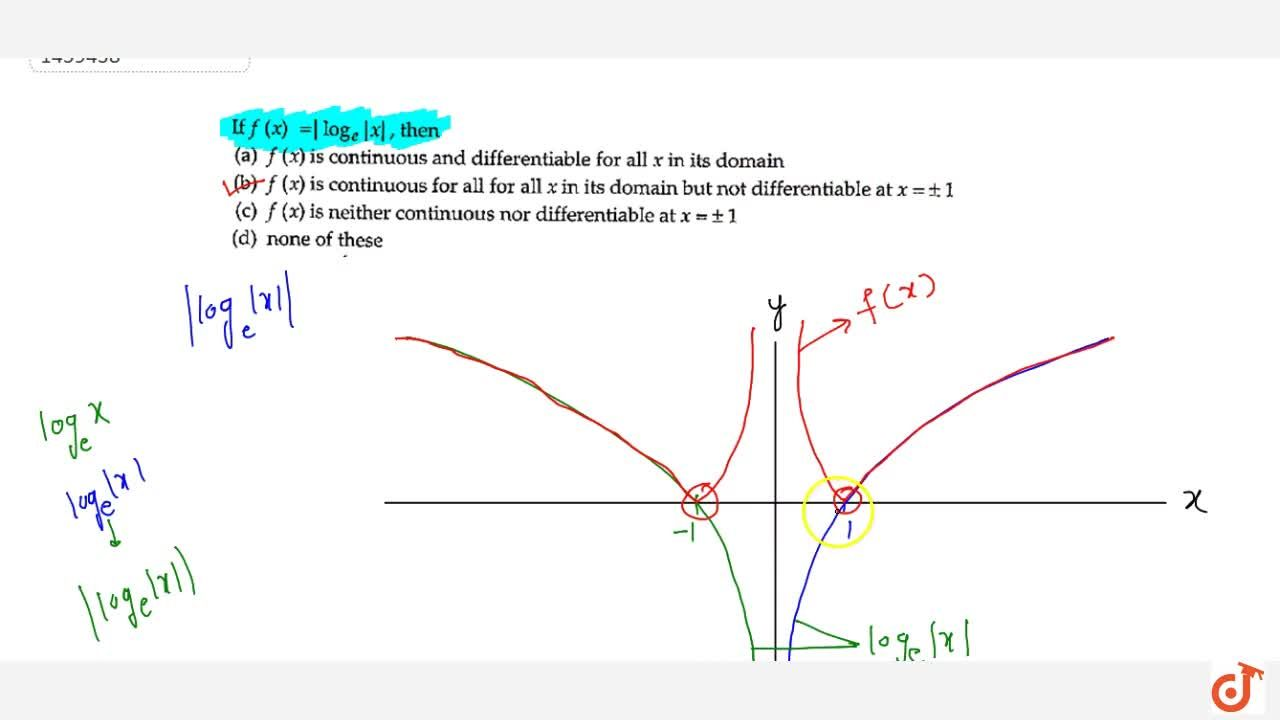 Solution for If f(x)= (log)_e x  , then f(x) is continuous